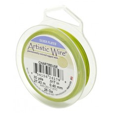 Chartreuse Silver Plated 26ga Artistic Wire, 30YD (27.4m)