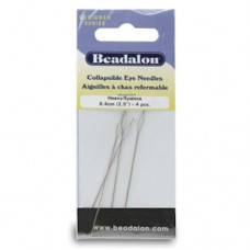 Beadalon 700H-100 Collapsible Eye Needles, 2.5 Inch, Heavy, 4