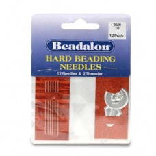 Size 10 Hard Beading Needles, 2.12 Inch, 12 Pack,  from Beadalon with threader