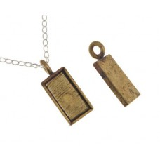100% Antique Brass Handmade Bezel, Rectangle Pendant, 21 x 11mm