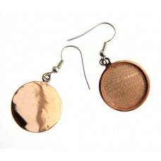Handmade Bezel Earring Round 19x2mm Copper, 24901007-04