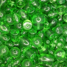 Bulk Bag Assorted Style Glass Beads, Green, Approx 250 Grams