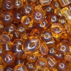 Bulk Bag Assorted Style Glass Beads, Topaz, Approx 250 Grams