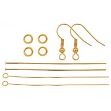 Finding Kit, Ball & Spring Earrings, Gold, 1 Set, 26002000-19