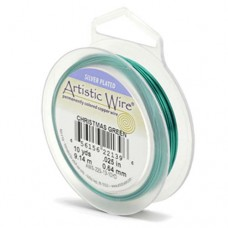 Christmas Green Silver Plated 26ga Artistic Wire, 30YD (27.4m)