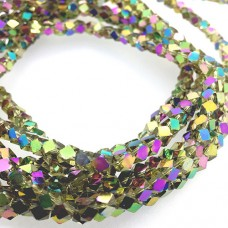 Faceted Clear Glass Strand, 4mm, 94 Beads Per Strand, Yellow Rainbow