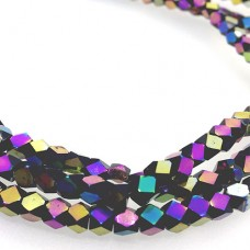 Faceted Clear Glass Strand, 4mm, 94 Beads Per Strand, Black Rainbow