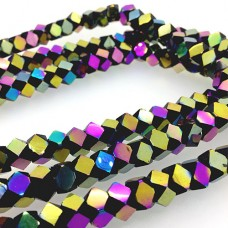 Faceted Clear Glass Strand, 8mm, 66 Beads Per Strand, Black Rainbow