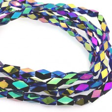 Faceted Clear Glass Strand, 13x7mm, 32 Beads Per Strand, Blue Rainbow