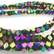 Faceted Clear Glass Strand, 8mm, 66 Beads Per Strand, Green Rainbow