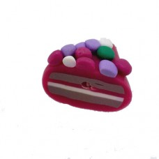 Fimo Purple Cake Slice Bead, 14x16mm