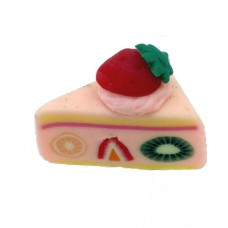 Fimo Strawberry Cake Slice Bead, 14x16mm