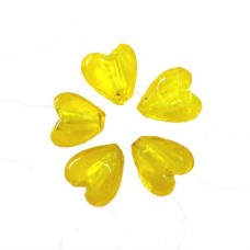 12 x 13mm Foiled Glass Heart Beads, Yellow, Pack of 5