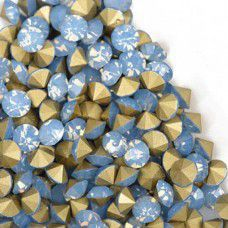 1.6mm Swarovksi Chatons PP11 - Gold Foiled Blue Opal x 100 pcs