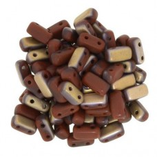 Matte Apollo Umber 2-Hole Brick Bead - 3 x 6mm - Pack of 50