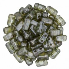 Luster Transparent Green 2-Hole Brick Bead - 3 x 6mm - Pack of 50
