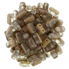 Matte Apollo Gold 2-Hole Brick Bead - 3 x 6mm -  Pack of 50