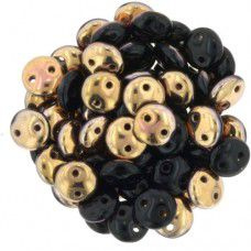Jet Apollo 2-Hole 6mm Lentil Beads - Strand of 50 Beads