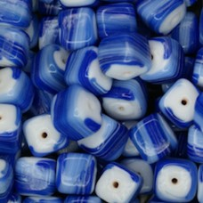 Glazed 9mm Cubes, Blue, Wholesale Bag, Approx 250gr.