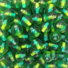 Green Two Tone Glass Beads, 250gr Bag