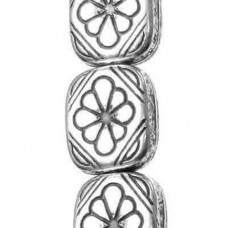 12x11 Flat Flowered Rectangle Antique Silver Beads, 15 Beads