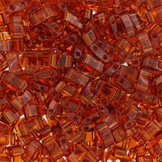Dark Amber Transparent Half Tila Beads, colour 0134 5.2gm approx.