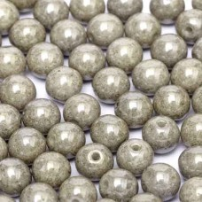 Chalk White Grey Luster 6mm Beads, 20 Pcs
