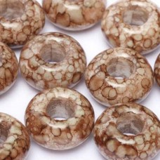 Large hole rings 9 x 14mm Alabaster Dark Chocolate Marble