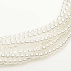 Bulk Bag Bright White Shiny 2mm Glass Pearls, 1200 Beads