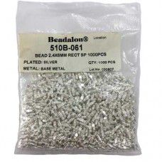 Beadalon 510B-061 Metal Beads, 2.4 x 6mm Rectangle, Silver Plated, 1000 Pcs