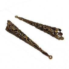 30mm Long Filigree Ballet Cone, Antique Brass Finish, Pack of 2