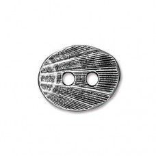 Oval Shell Antique Silver Plated Button, 15 x 13mm