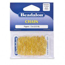 Small Figaro Chain, Gold, 2 Metre Length