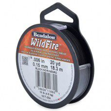 Beadalon 161T-004 Wildfire, .006 in, 0.15mm, Black, 20yds