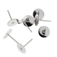 8 mm Ear Studs, Nickel Colour - Pk of 100