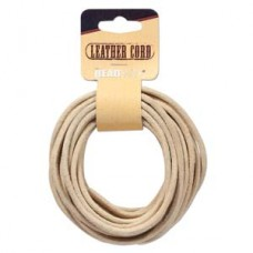 Genuine Leather Cord  3mm Round Natural 5yds