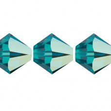 6mm Blue Zircon AB Swarovski Bicones, pack of 24 pcs