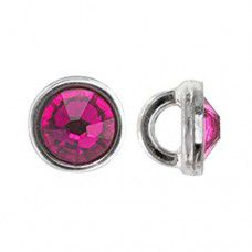 Fuschia on Silver 3mm Crystalettes, Pack of 10pcs
